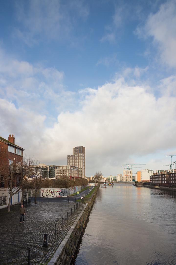 View of Capital Dock from across the canal in Dublin