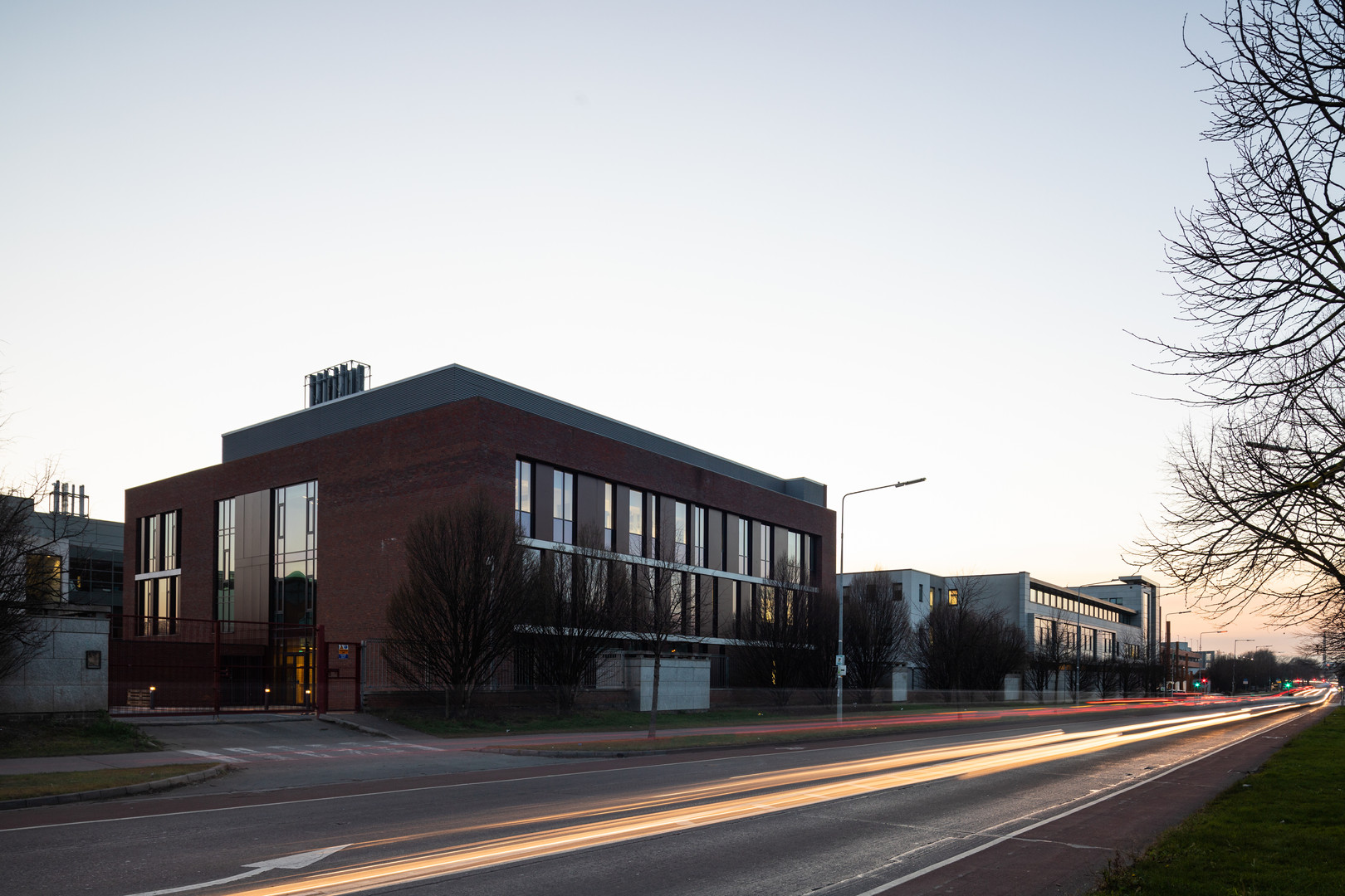 Exterior elevation at Dusk from Collins Avenue of the Nano Research Facility at DCU, Dublin