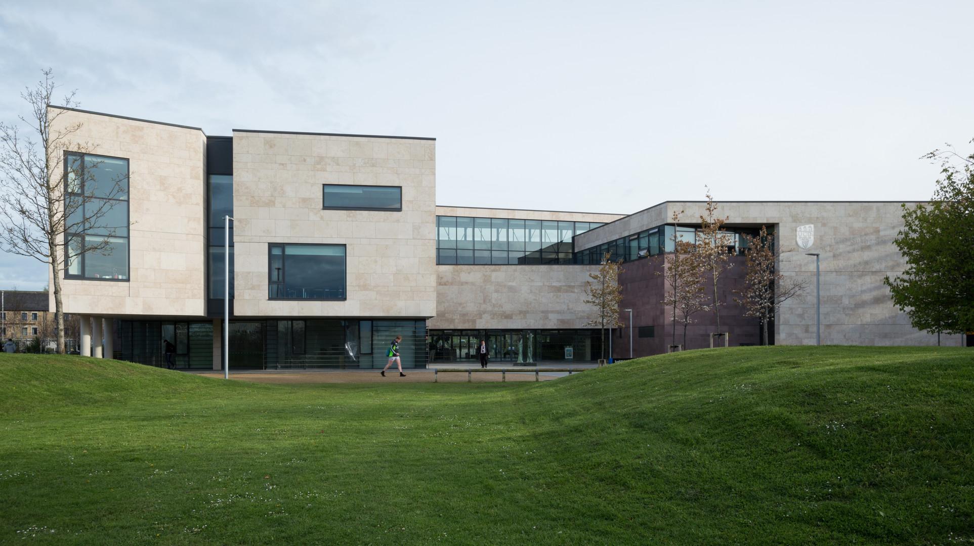 External view across the grass of Sutherland School of Law, UCD, Dublin