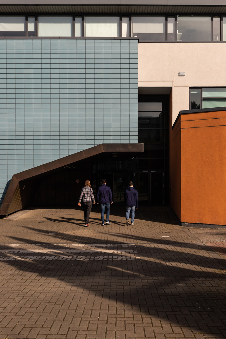 Students approaching the entrance of the School of Nursing in DCU, Dublin