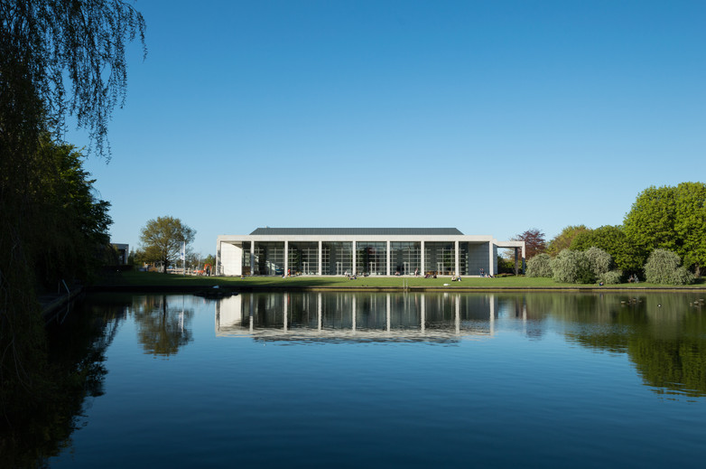 View across the lake of O'Reilly Hall in UCD, Dublin