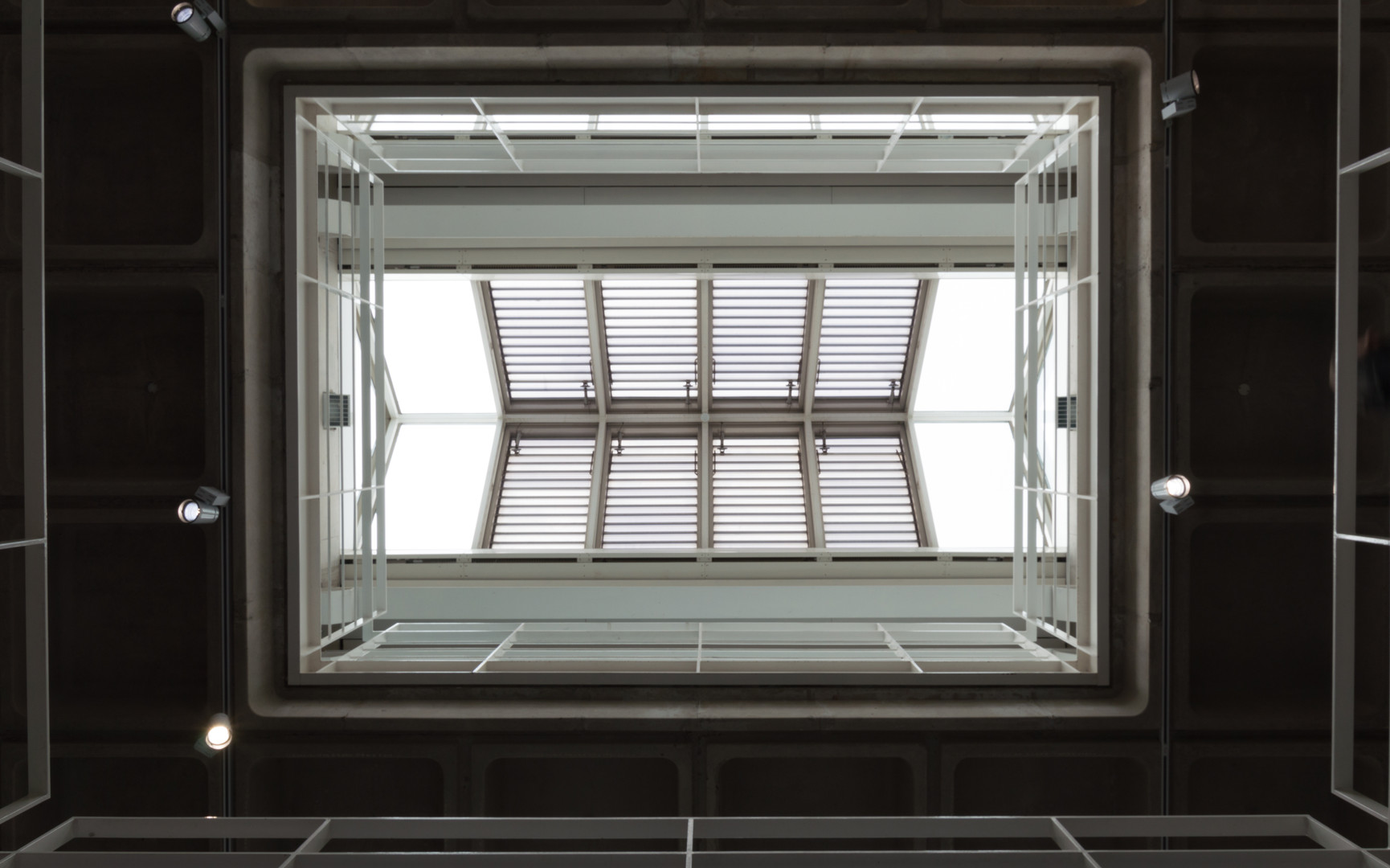 upshot of the central atrium roof window of the Engineering Building in UCD, Dublin