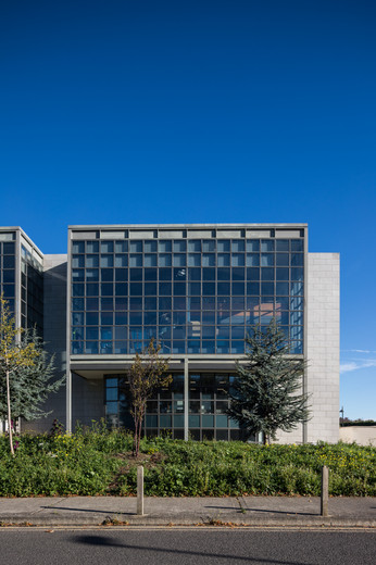 Exterior of glazed box of the Library & Information Centre at DCU, Dublin