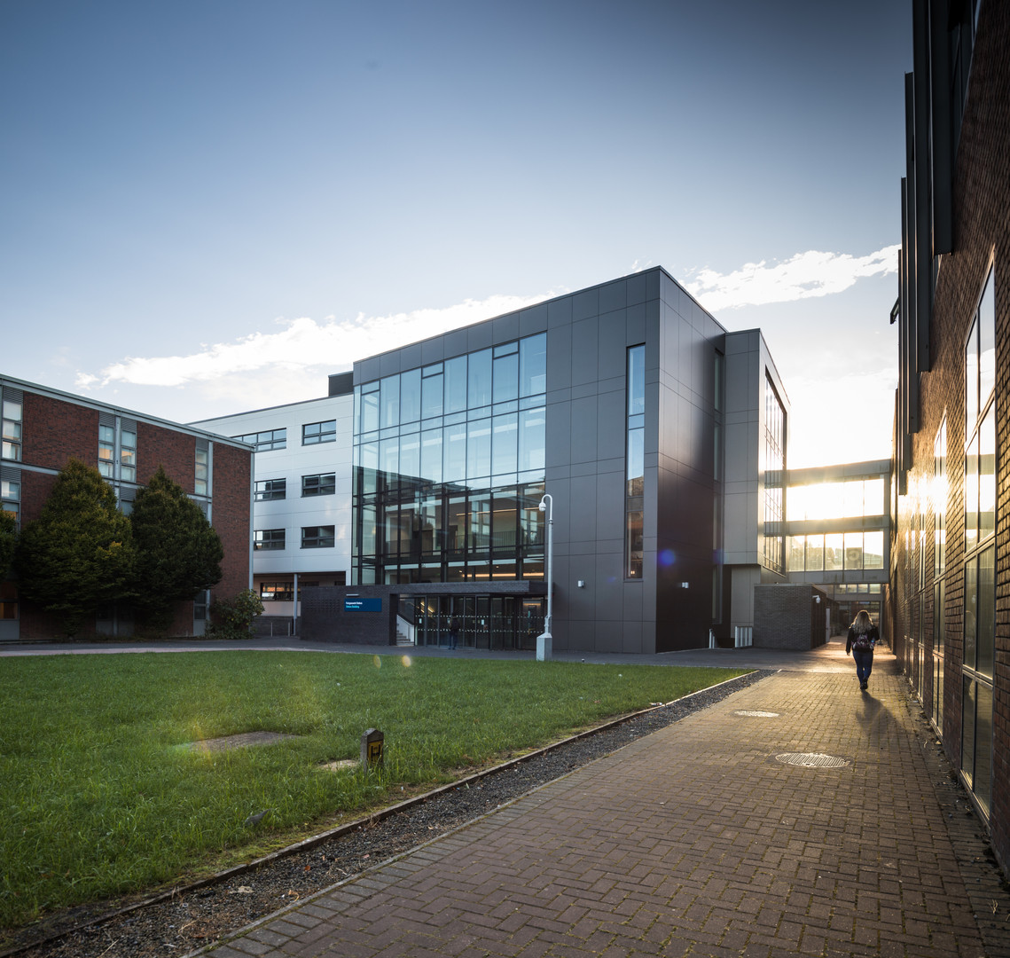 Dusk view of Stokes Building Extension at DCU, Dublin