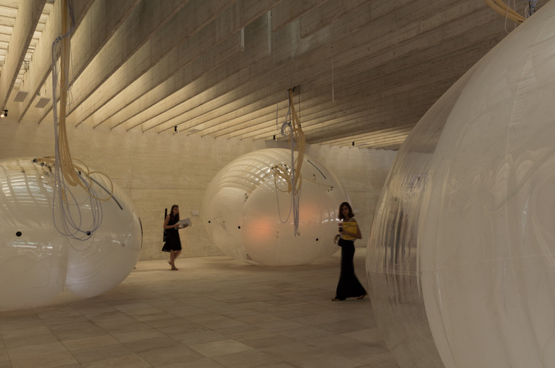Interior of Nordic pavilion with membrane structures at the Venice Biennale 2018
