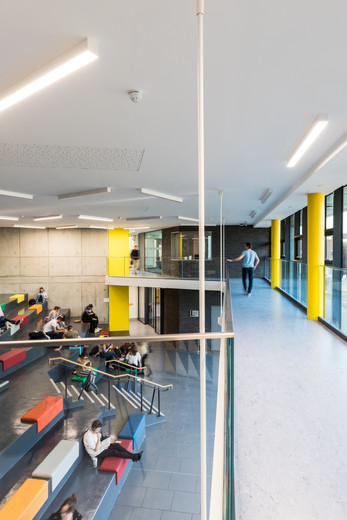 View from the mezzanine of students sitting in the auditorium of the Student Hub in DCU, Dublin