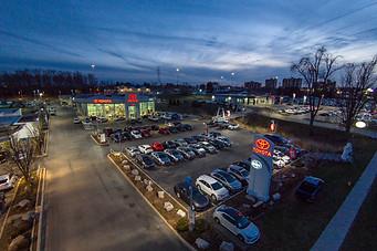 Car dealership at Dusk
