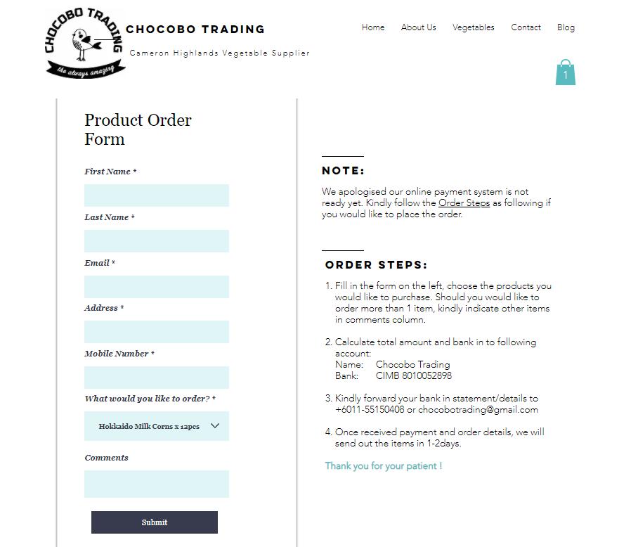 Order tomato online form- Chocobo Trading