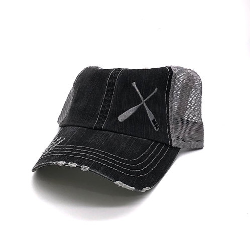 Crossed Paddle Distressed Unstructured Hat