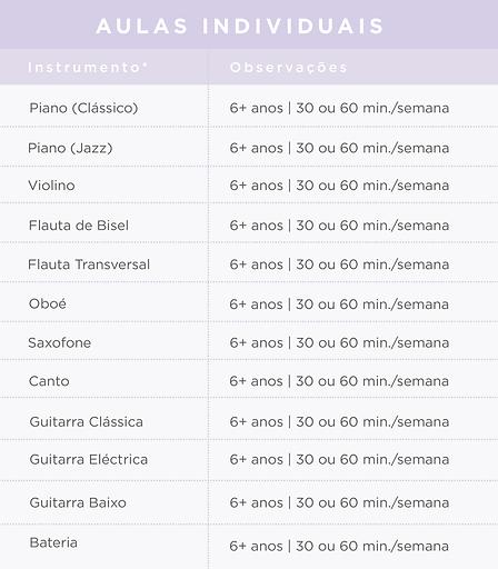 Preçário da Academia de Música de Telheiras | Aulas Individuais