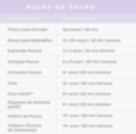 Preçário da Academia de Música de Telheiras | Aulas de Grupo