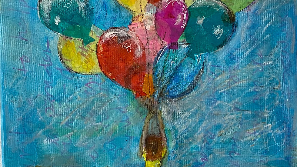 Mixed media painting by Glenda Gibson showing a girl being lifted by colourful balloons