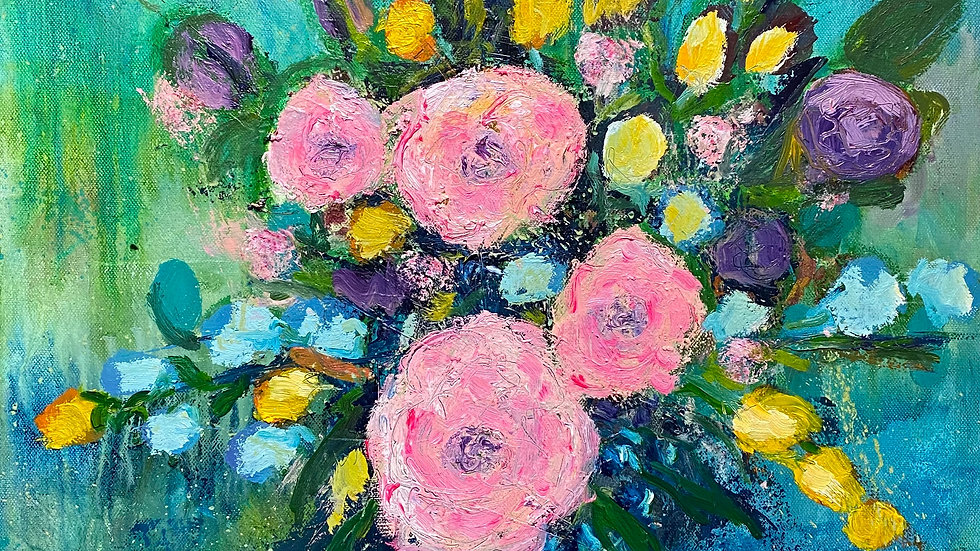 Bright abstracted flowers in oils for £120