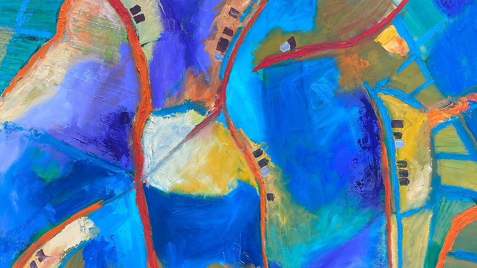 A bright abstract map like pattern by Glenda Gibson