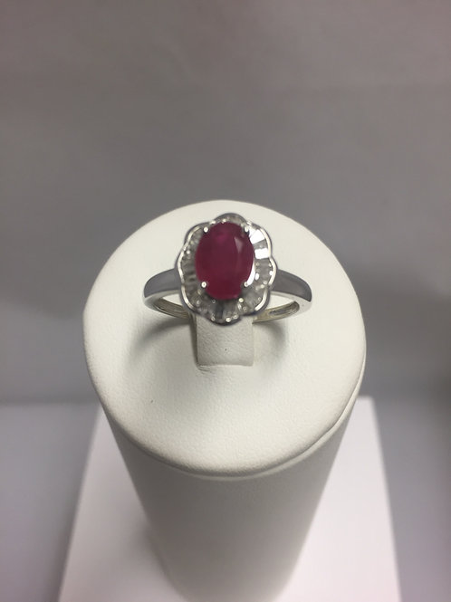 Bague or blanc rubis diamants
