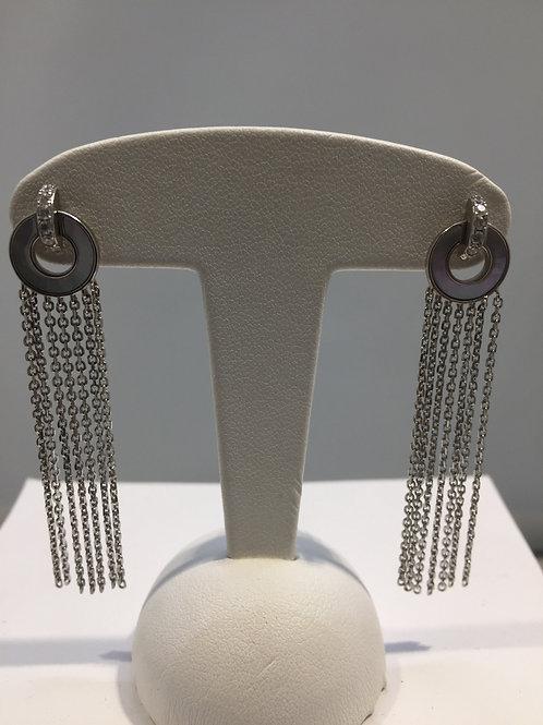 Boucles d'oreille cercle chaînes pendantes - réversible