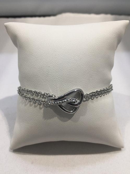 Bracelet mailles double chaîne gouttes entrelacées