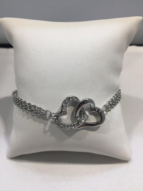 Bracelet acier triple chaîne double coeur