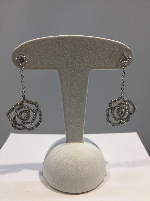 Boucles d'oreille pendantes argent motif rose