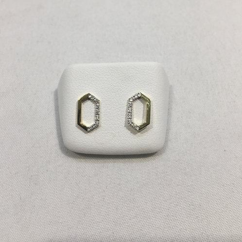 Boucles d'oreille alvéole or jaune/ brillants