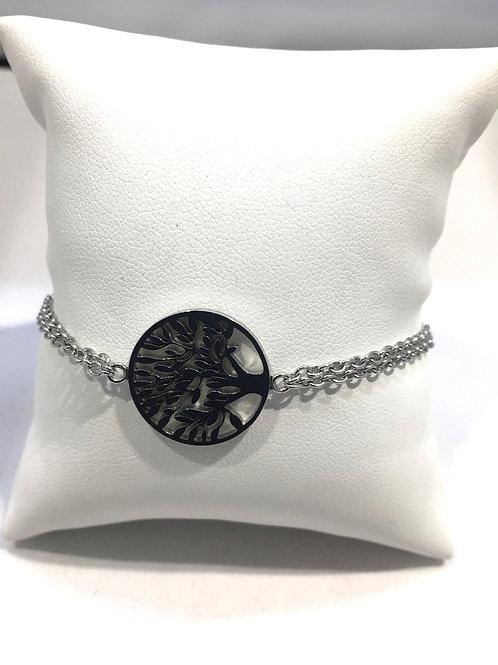 Bracelet acier double chaîne arbre de vie