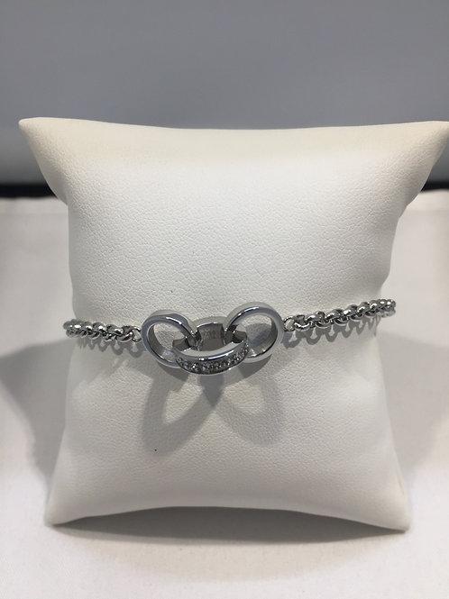Bracelet chaîne acier 3 anneaux entrelacés