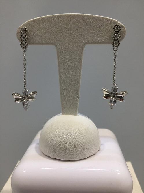 """Boucles d'oreille pendantes argent """"abeille"""""""