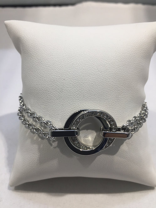 Bracelet double chaîne double anneau