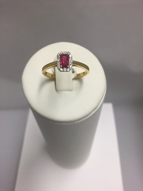 Bague or jaune rubis diamants