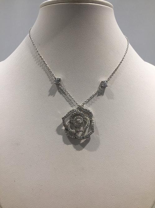 Collier chaîne argent motif rose