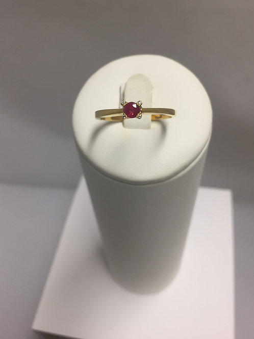 Bague or jaune rubis