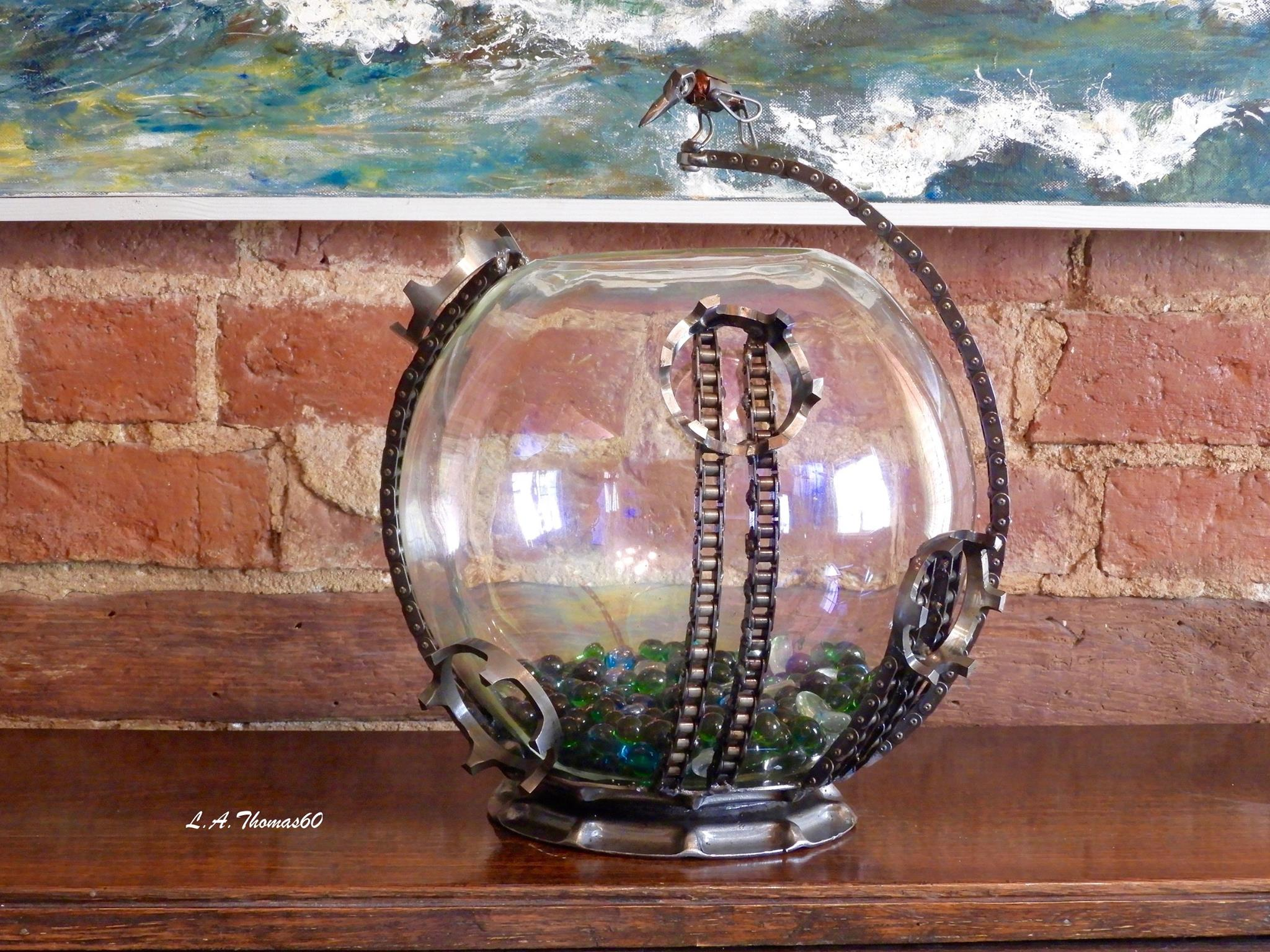 Large Goldfish bowl with Bird