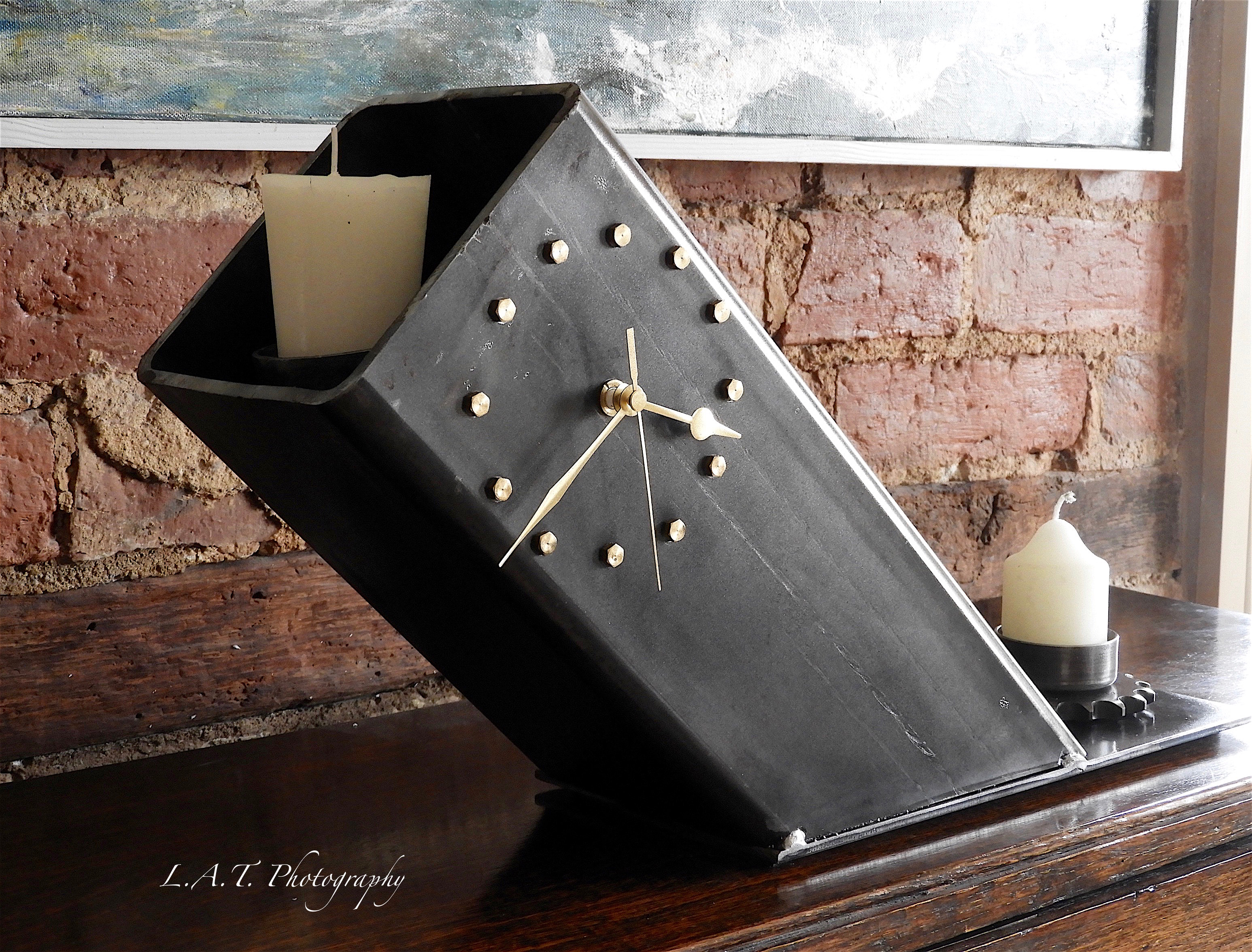 Angled steel clock