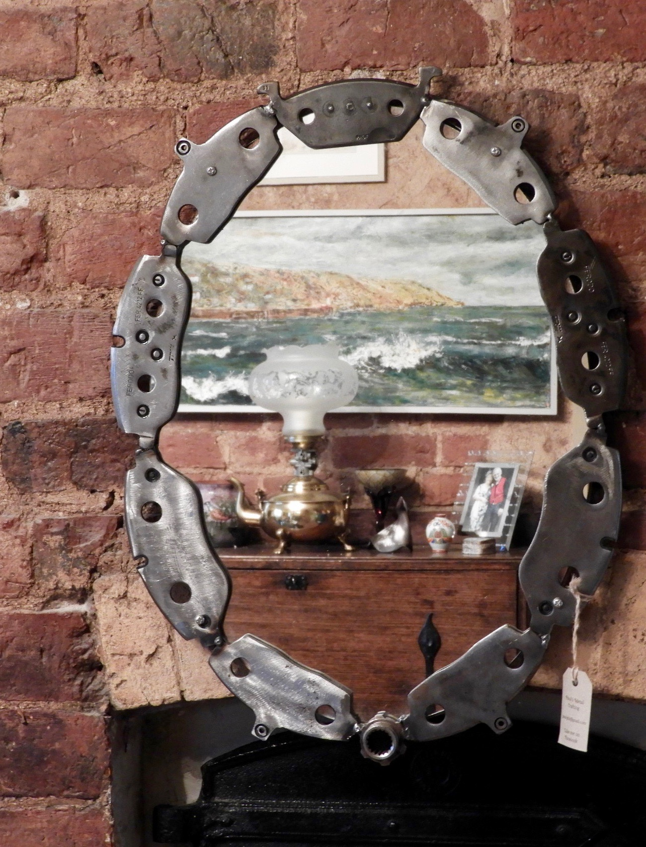 Brake pad up-cycled mirror