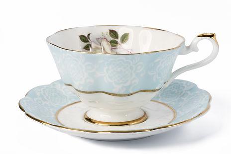 A decorated antique porcelain tea cup wi