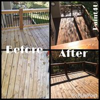 Before and After Deck Stain
