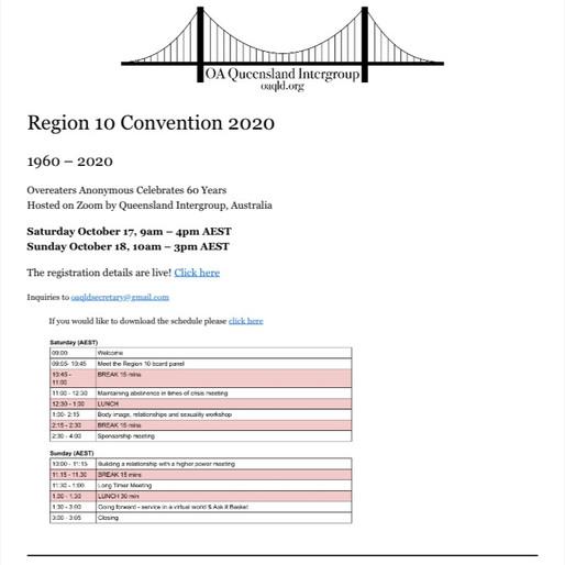 Virtual Convention in Australia Oct 17-18