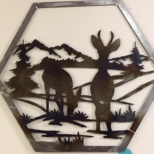 Metal Laser Cut Deer Wall Hanging