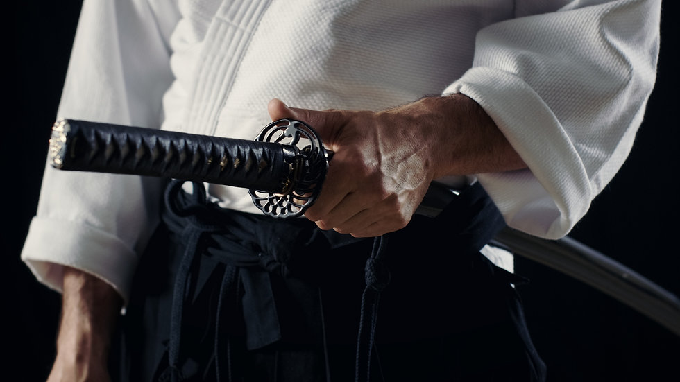 Aikido Master Wearing Traditional Samura