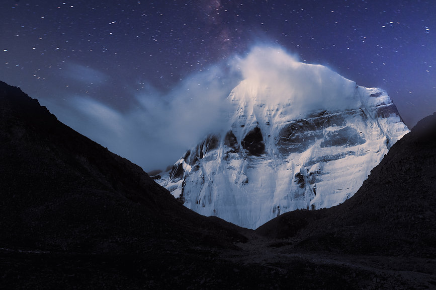 Night Kailash cloud flags on top and tra