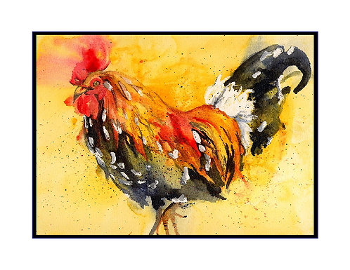 Rooster Watercolor Note Cards