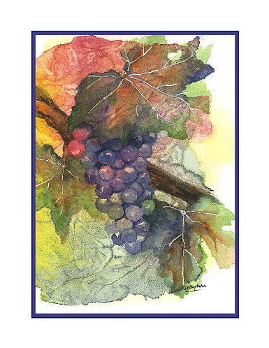 Watercolor Grape Note Cards