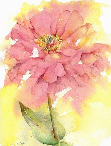 Wind Blown Zinnia Watercolor Original Painting