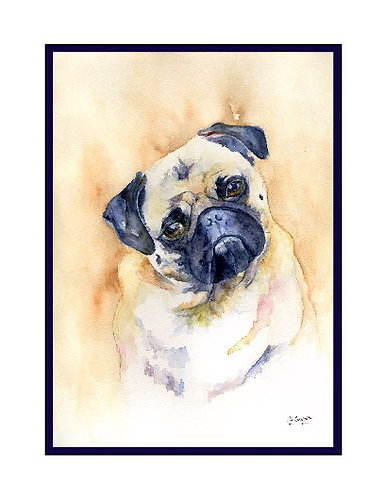 Pug Watercolor Note Cards
