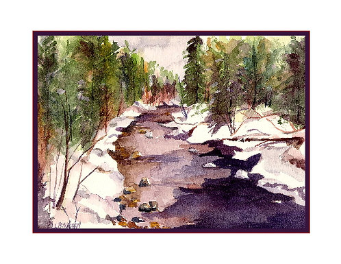 Winter River Watercolor Note Cards