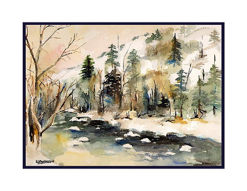 Watercolor Snow on the River Cards