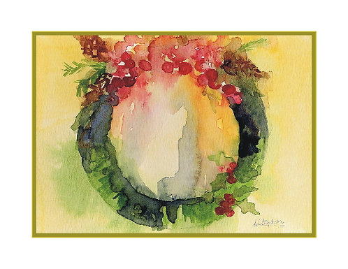 Watercolor Christmas Wreath Note Cards