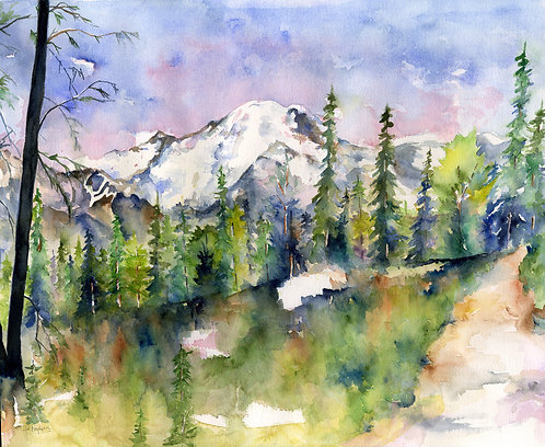 Mount Rainier Original Watercolor and Ink Painting
