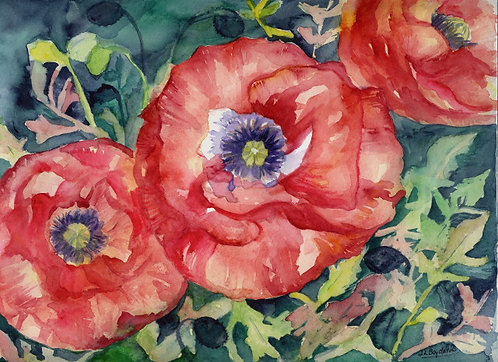 Red Poppies Acrylic and Watercolor Painting