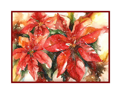 Snow on Poinsettias Watercolor Note Cards